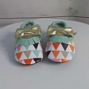 Other - Girl Blue Triangle Bow Leather Moccasins Boutique